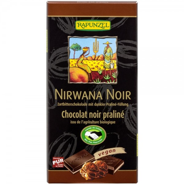 Ciocolata Nirwana neagra cu praline 55% cacao VEGANA