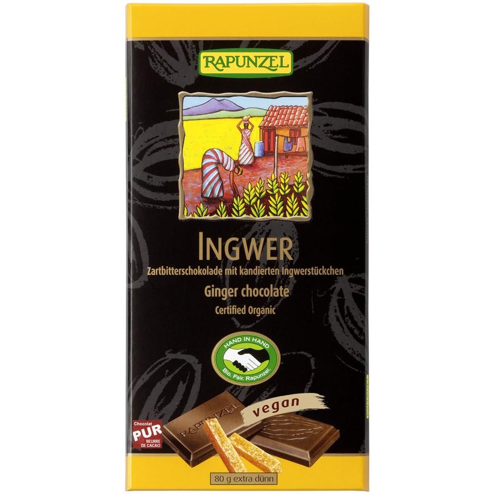 Ciocolata bio amăruie cu ghimbir 55% cacao HIH