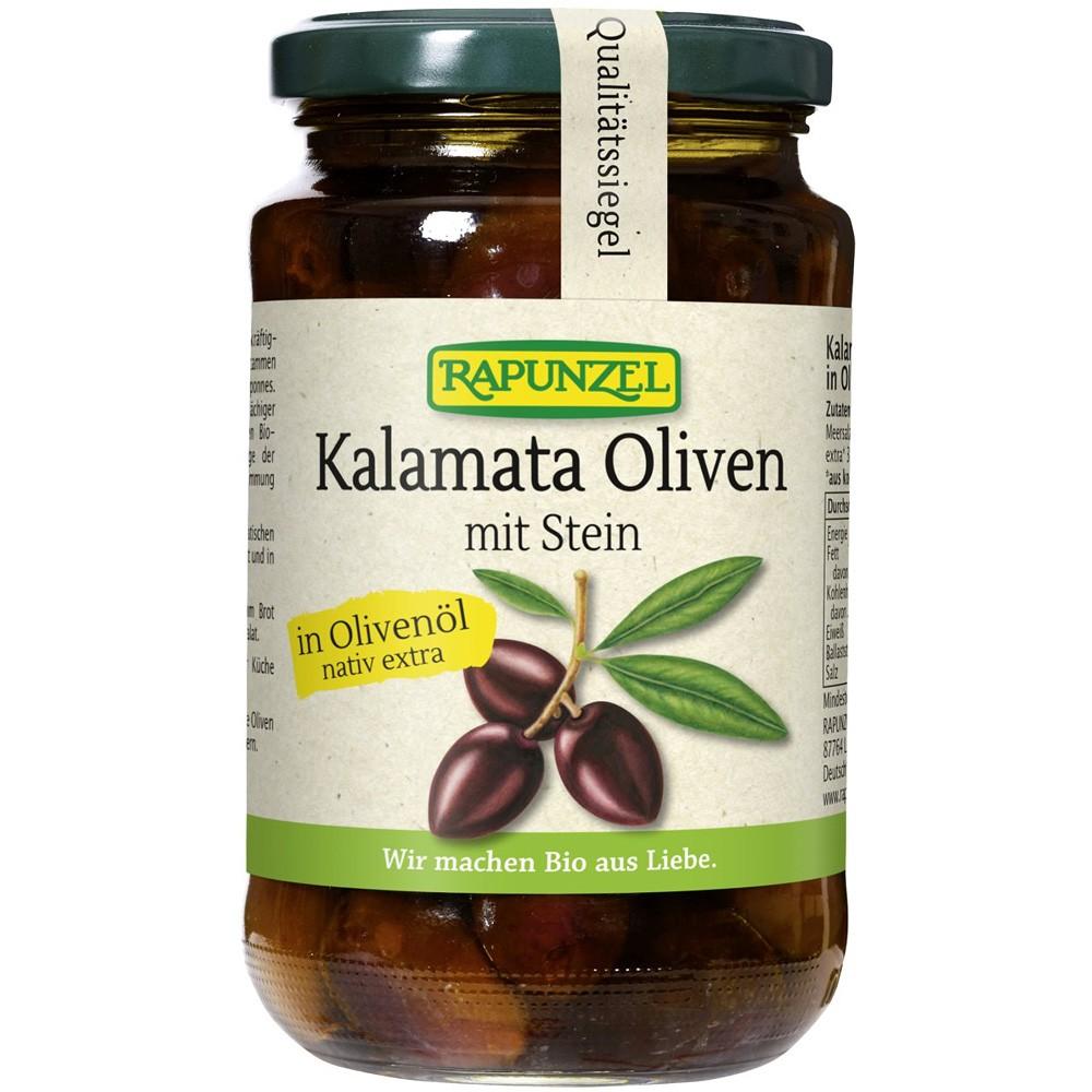 Masline Bio Kalamata, violet, cu sâmburi, în ulei de măsline extravirgin