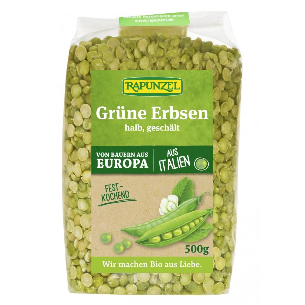 Mazare verde bio, jumătăţi, cojite